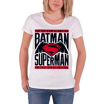 Batman Vs Superman T Shirt Logo nye officielle DC Comics dame Skinny passer hvid