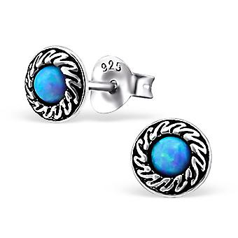 Round - 925 Sterling Silver Opal And Semi Precious Ear Studs - W23672x