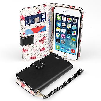Caseflex iPhone 6 etui portfel skórzany-efekt – czarny kwiatowy podszewka