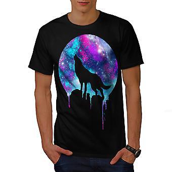 Wild Wolf Moon Light Men BlackT-shirt | Wellcoda