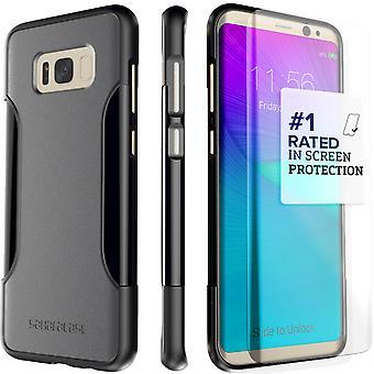 S8 SaharaCase Galaxy Plus caso clásico, Kit de protección con ZeroDamage vidrio - templado gris