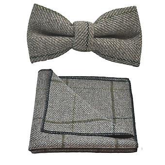 Luxury Light Khaki Brown Herringbone Check Bow Tie & Pocket Square Set, Tweed