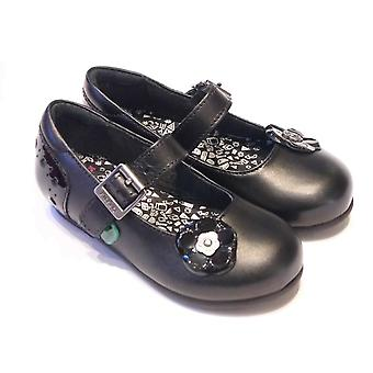 Kickers Lenkah Bar Girls Black Leather School Shoes With Buckle Fastening