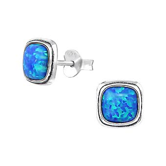 Square - 925 Sterling Silver Opal And Semi Precious Ear Studs - W35235x
