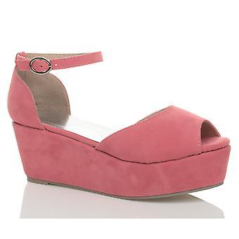 Ajvani womens lage midden hak blok wig platform flatform sandalen schoenen