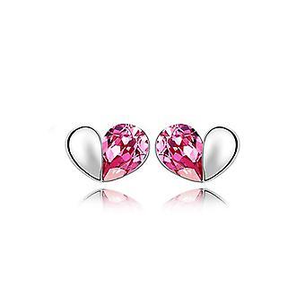 Womens Pink Designer Love Heart Stud Earrings Crystal Silver Jewellery Present