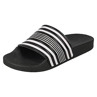 Boys Spot On Striped Slider Mules N0048