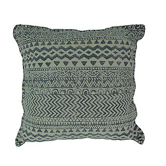 Denim Blue Geometric Design Cotton Dhurrie Pillow 20 Inch