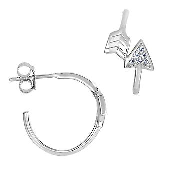 Sterling Silver And Cubic Zirconia Open Circle Arrow Post Earrings