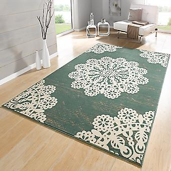 Designer velour carpet lace green cream | 102418