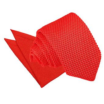 Red Knitted Slim Tie & Pocket Square Set