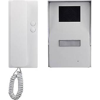 Basetech 1437517 Door intercom Corded Complete kit Detached Silver, White