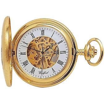 Woodford Gold Plated Skeleton Half Hunter Mechanical Pocket Watch - Gold