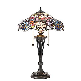 Interiors 1900 Sullivan Small Colourful Flower Effect Tiffany Table Lamp