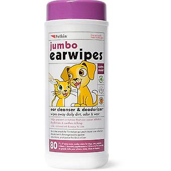 Jumbo Ear wipes - Ear Cleanser and Deodoriser for Cats & Dogs (80)