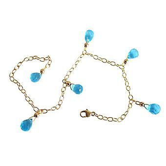 Blautopaz blue topaz blue Topas bracelet jewellery gold plated