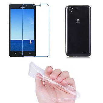 Huawei G630 mobil täckning pocket ultra tunn endast 0,3 mm fall täcka ärm shell + tank glas riktiga glas display skydd