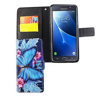 Mobiltelefon tilfælde pose til mobil Samsung Galaxy J7 2016 blå sommerfugl