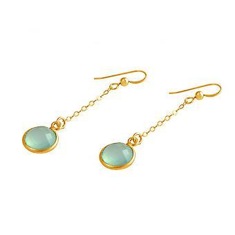 Damen - Ohrringe - Ohrhänger -  925 Silber - Vergoldet - Chalcedon - Meeresgrün - 3,5 cm
