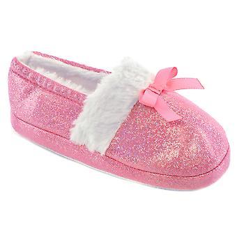Jeunes filles SlumberzzZ Sparkle Design talon élastiquée bordée de fausse fourrure chaussons