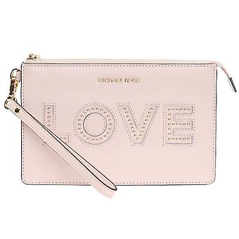 Michael Kors Gusset Soft Pink Leather Love Wristlet Clutch Bag
