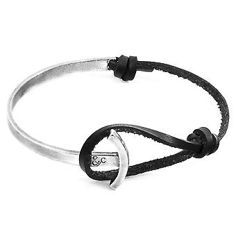 Anchor & Crew Coal Black Galleon Anchor Silver and Flat Leather Half Bangle