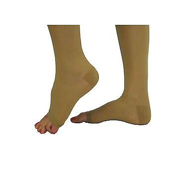 Pebble UK Signature Sheer Open Toe Compression Thigh Highs [Style P266] Silky Nude  S