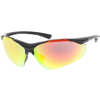 TR-90 Semi Rimless Wrap Sports Sunglasses Colored Mirror Lens 85mm