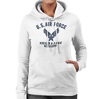 US Airforce Keesler AF Base Mississippi Navy Blue Text Women's Hooded Sweatshirt