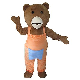 SPOTSOUND of Brown and white bear mascot, with overalls orange