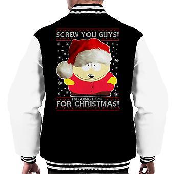 South Park Cartman Screw You Guys Christmas Knit Pattern Men's Varsity Jacket