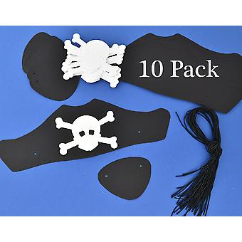 10 Black Card Pirate Hats & Patches Kit for Kids Parties & Crafts