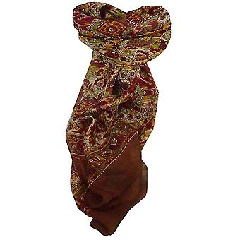 Mulberry Silk Traditional Square Scarf Har Coffee by Pashmina & Silk