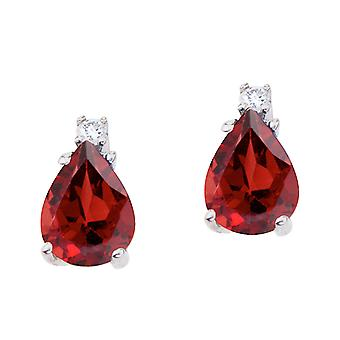 14k White Gold Pear Shaped Garnet and Diamond Earrings