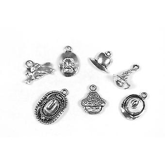 Packet 7 x Antique Silver Tibetan 13-22mm Hat Charm/Pendant Set ZX17510