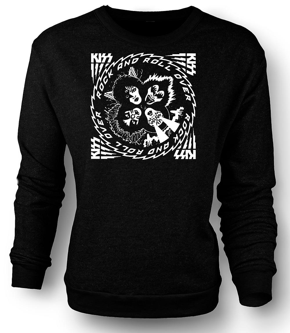Mens Sweatshirt Kiss - Rock And Roll - över musik