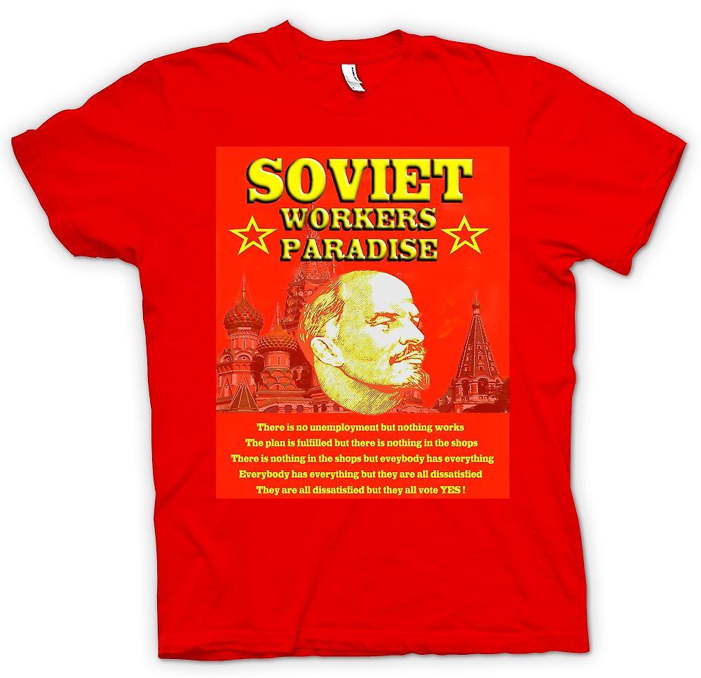 Hommes T-shirt - Lénine - soviétique paradis des travailleurs