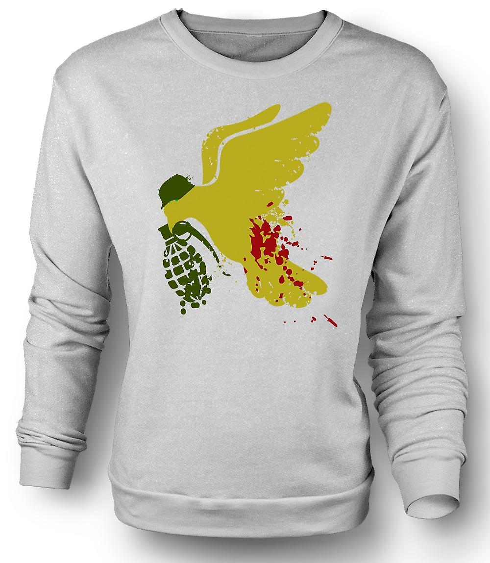 Mens Sweatshirt Peace Not War Dove Grenade - Funny