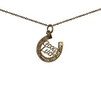 9ct Gold 16x16mm solid Horseshoe with Good Luck Pendant with a 1.1mm wide cable Chain 16 inches Only Suitable for Children