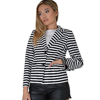 Lovemystyle Black And White Striped Blazer Jacket With Button