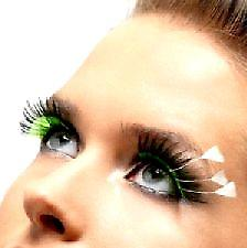 Feather Plume Eyelashes - Black - Green and White - Contains Glue