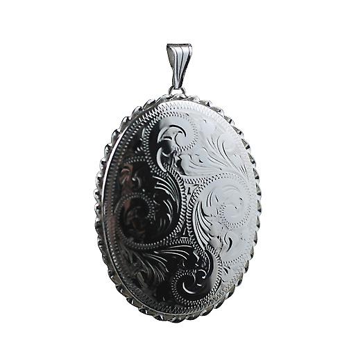 Sliver 48x38mm hand engraved twisted wire edge oval Locket