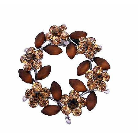 Topaz Brown with Brown Enamel Flower Crystals Brooch Pin