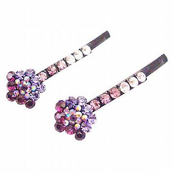 Flower Hair Pin w/ Smashing Amethyst Lite Dark Inexpensive Pin