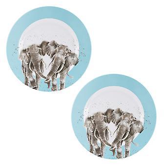 Wrendale Designs Elephant Set of 2 Melamine Dinner Plates