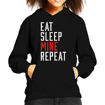 Eat Sleep Mine Repeat Kid's Hooded Sweatshirt