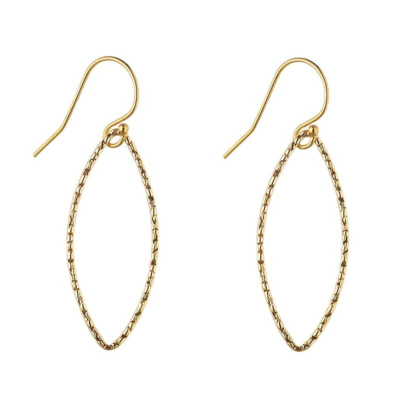 14kt or Filled Hammerouge Oval Earrings (Large)