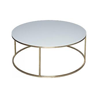 Gillmore Space White Glass And Gold Metal Contemporary Circular Coffee Table