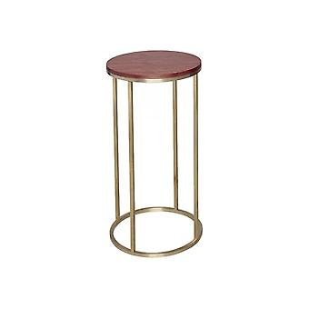 Gillmore Space Walnut And Gold Metal Contemporary Circular Lamp Table