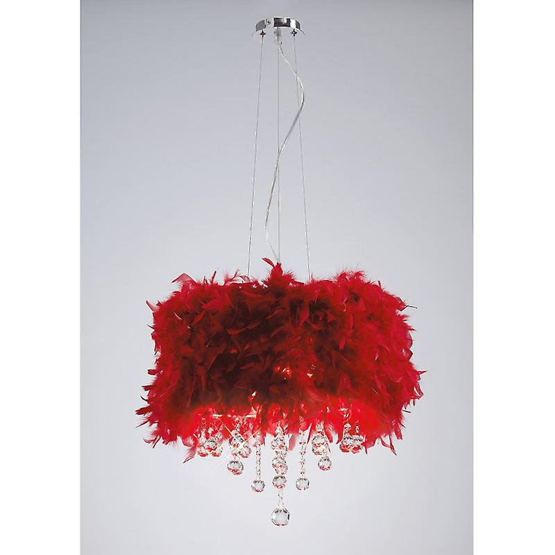 Ibis Pendant With rouge Feather Shade 3 Light Polished Chrome crystal